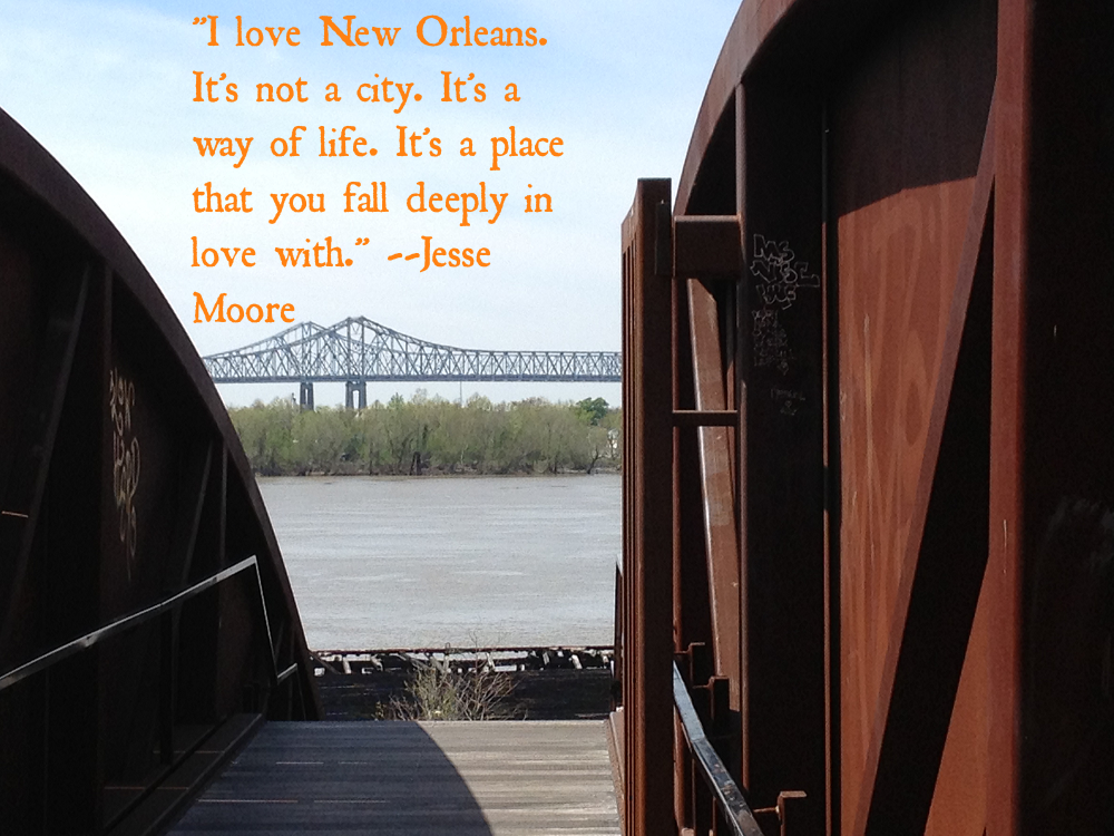 New Orleans bridges and river (text)