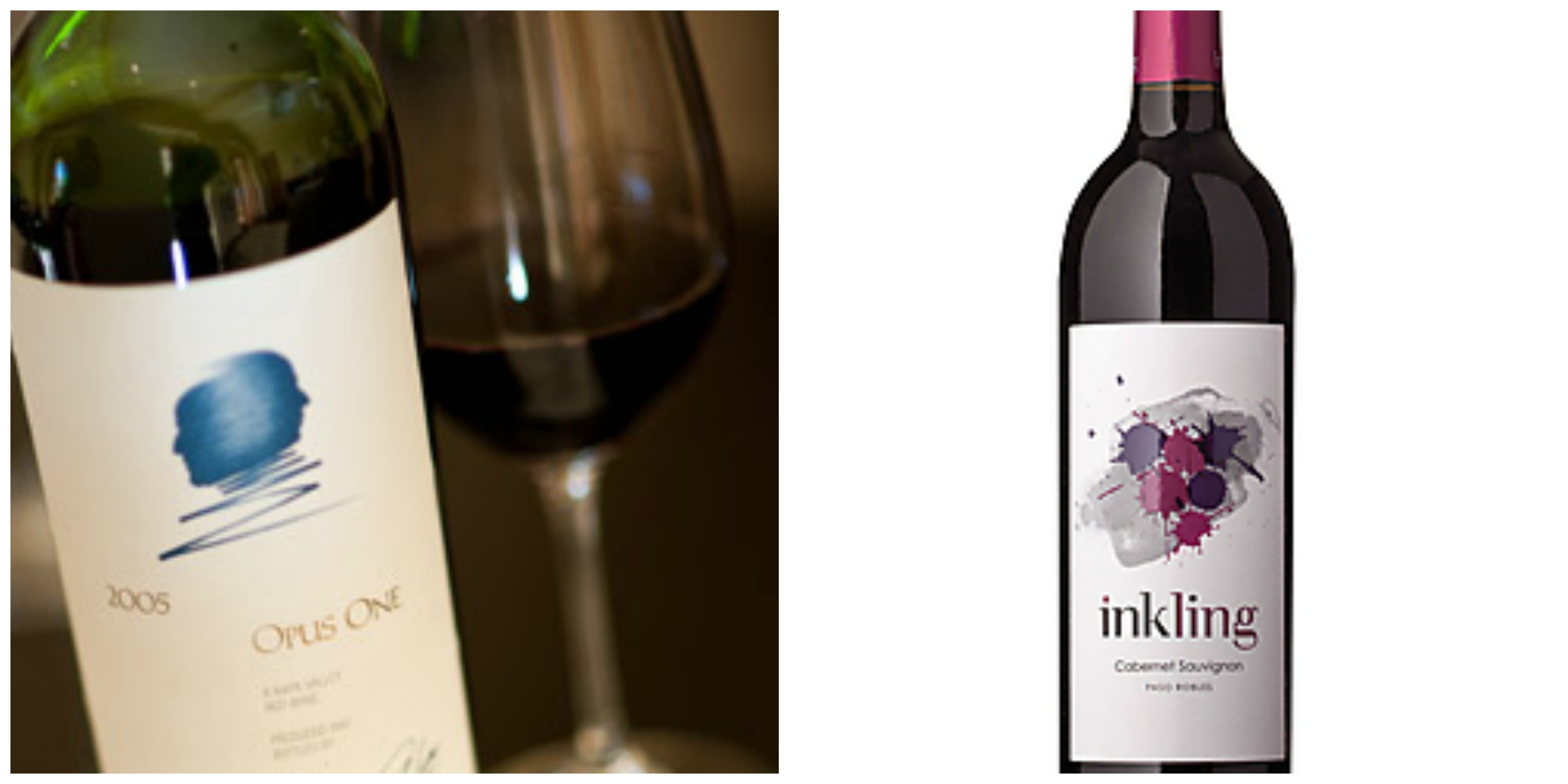 The famed Opus One...which I plan to try this summer. I have a hunch that Inkling Cabernet is easy drinking. (left image © Opus On Winery; right image courtesy Total Wine & More)