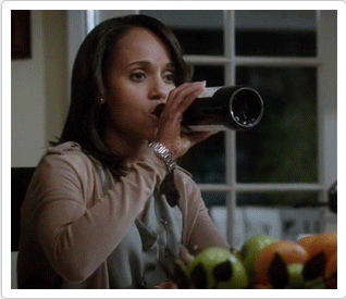 Olivia Drinking red wine out of a bottle