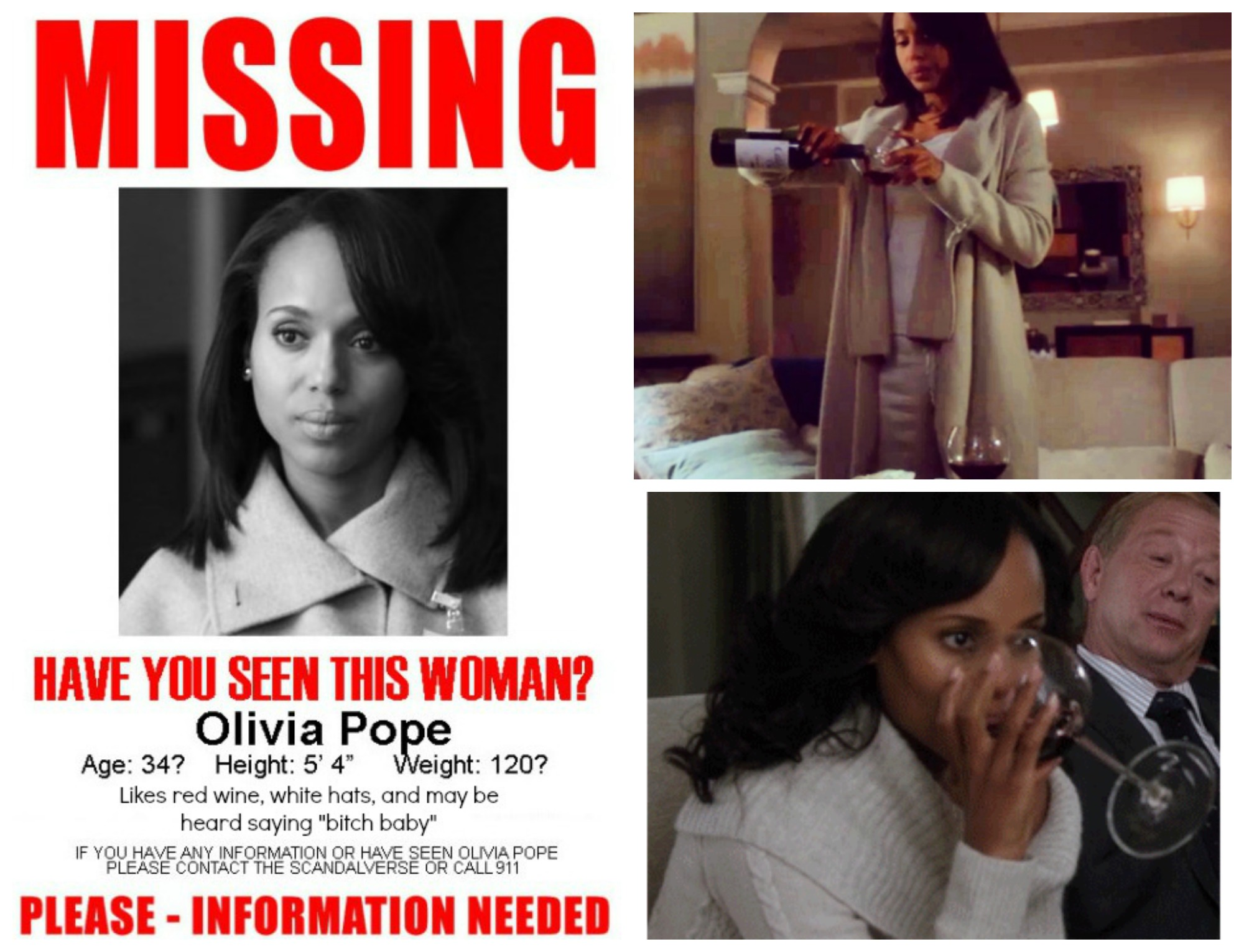 Olivia drinking and missing poster Collage