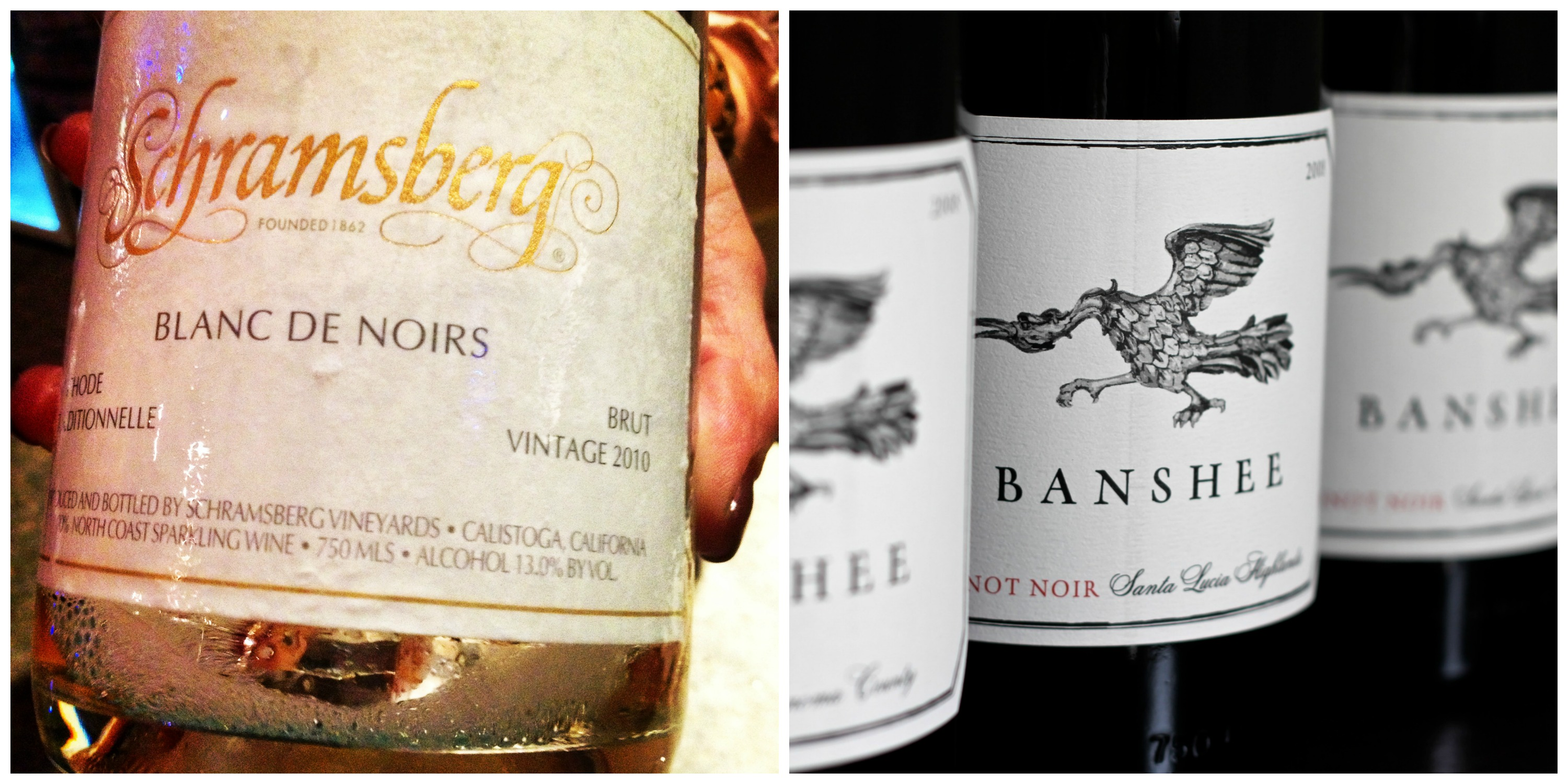 One of my fave bubblies made with 100% Pinot Noir grapes. Banshee Pinot Noir is perfect sip after battling with devious Elizabeth North. (left image © TheBubbleista; right image courtesy of Teplin + Nuss Public Relations)