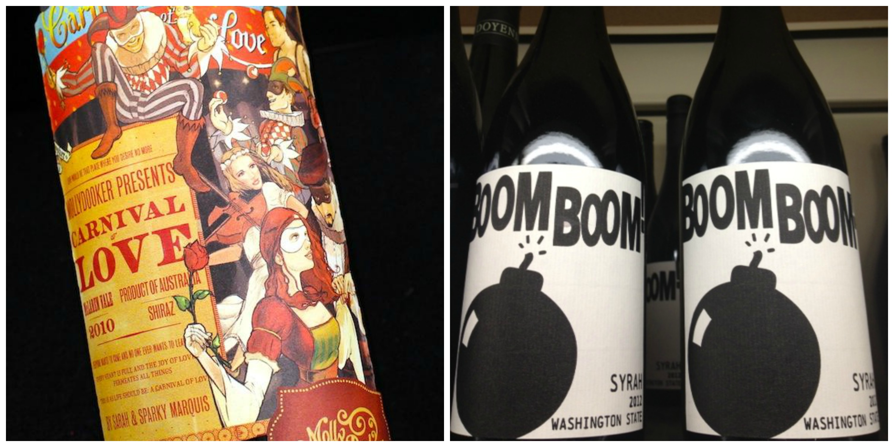 "I love the colorful ""Carnival of Love"" label from Molly Dooker. The ""explosive"" Boom Boom Syrah. (left image © 2020Wines.com; right image © TheBubbleista"