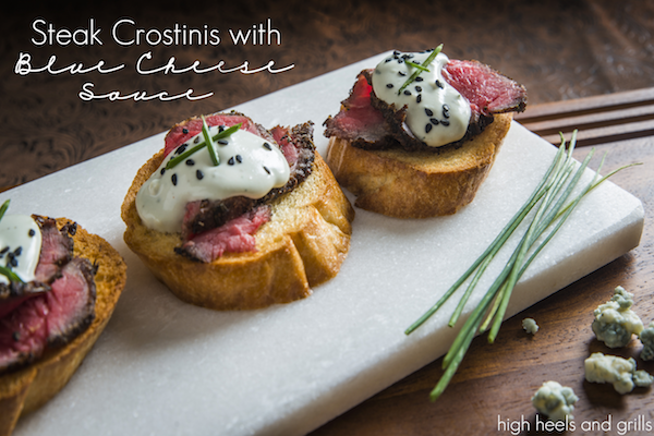 Steak Crostinis with Blue Cheese Sauce