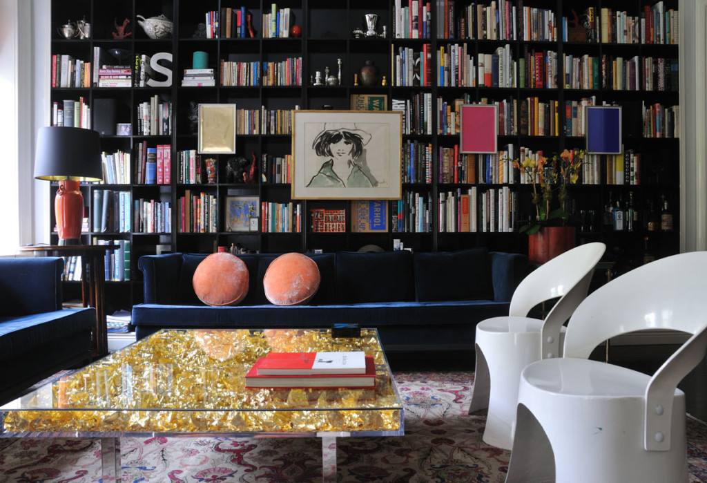 Lonny Magazine Blue sofa and books
