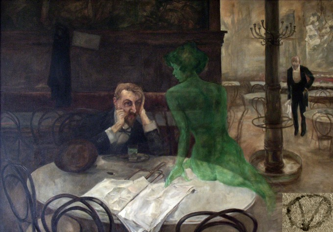 """La fée verte"" visits a drinker in Viktor Oliva's ""Absinthe"" painting {image courtesy of Wikipedia}"