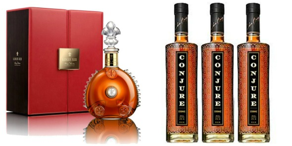 Mogul worthy Louis XIII de Rémy Martin cognac and Conjure cognac {images  from left courtesy of CognacFans.com and RefinedHype.com}