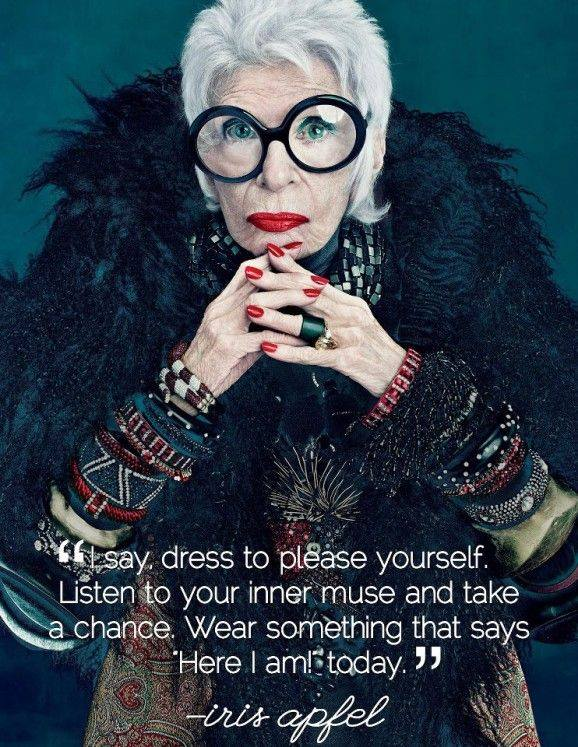 Iris Apfel dressing quote meme