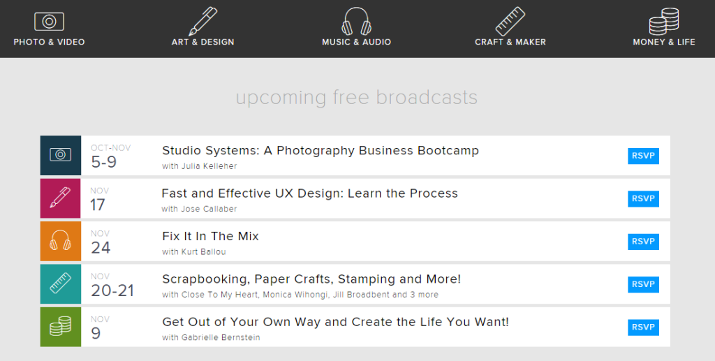 CreativeLive Free broadcasts