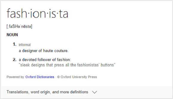 Fashionista definition
