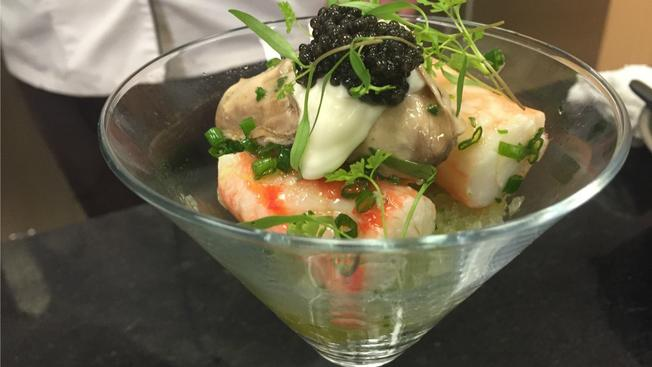 Cooking with bubbly: Champagne Poached Oysters, King Crab, and Osetra Caviar {photo and recipe courtesy of http://www.nbcconnecticut.com/}