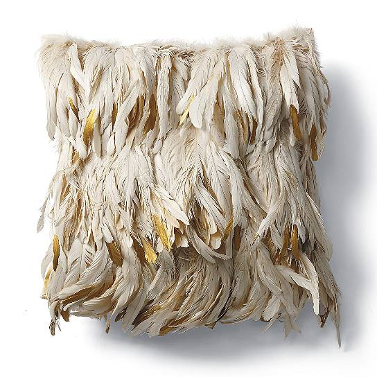 Year of Rooster Gold dipped feather pillow