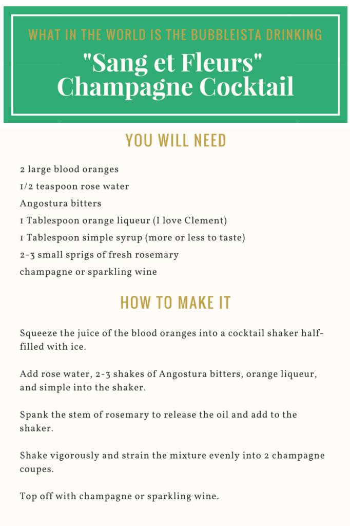 Sang et Fleurs Champagne Cocktail recipe