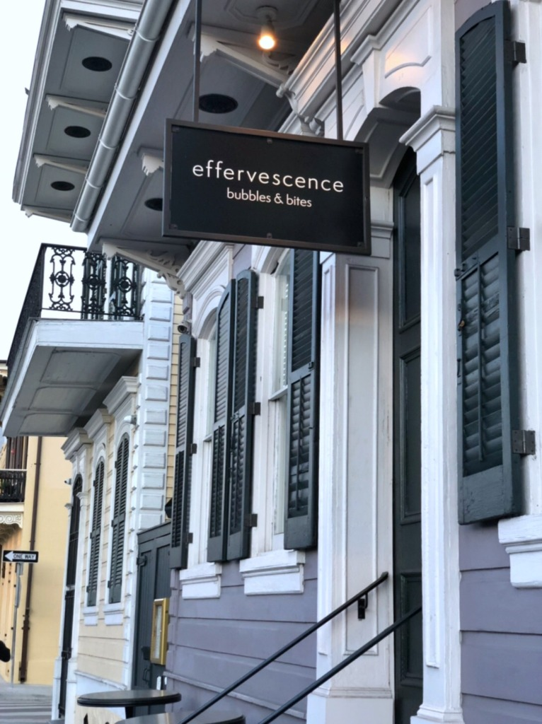 Facade of Effervescence Champagne bar in New Orleans
