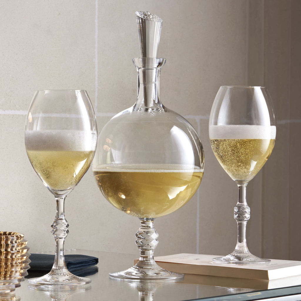 JCB Baccarat Passion Champagne flutes and decanter